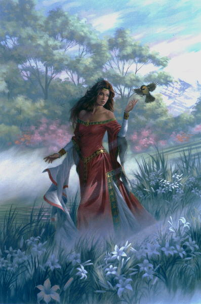 Picture of a young maiden with a bird perching on her hand